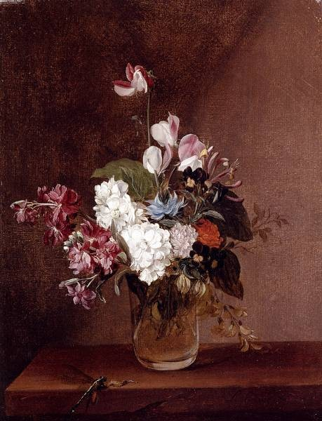 Still Life With Garden Flowers In A Glass Vase And A Dragonfly